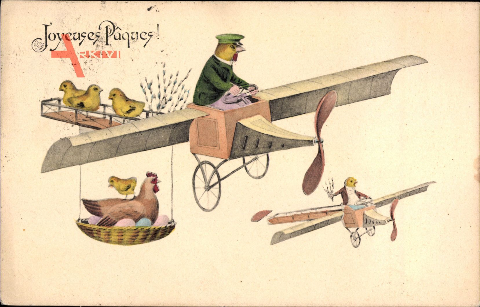Glückwunsch Ostern, Küken fliegen Flugzeug, Ostereier