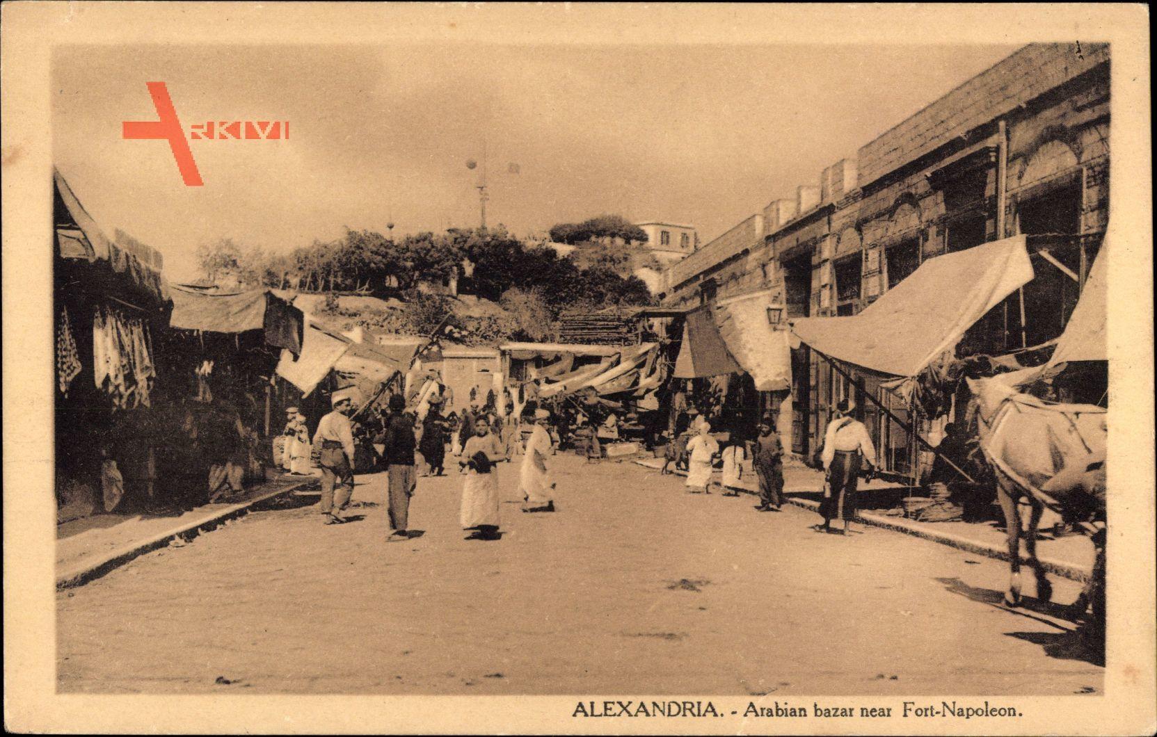 Alexandria Ägypten, Arabian bazar neat Fort Napoleon, Kutsche, Araber
