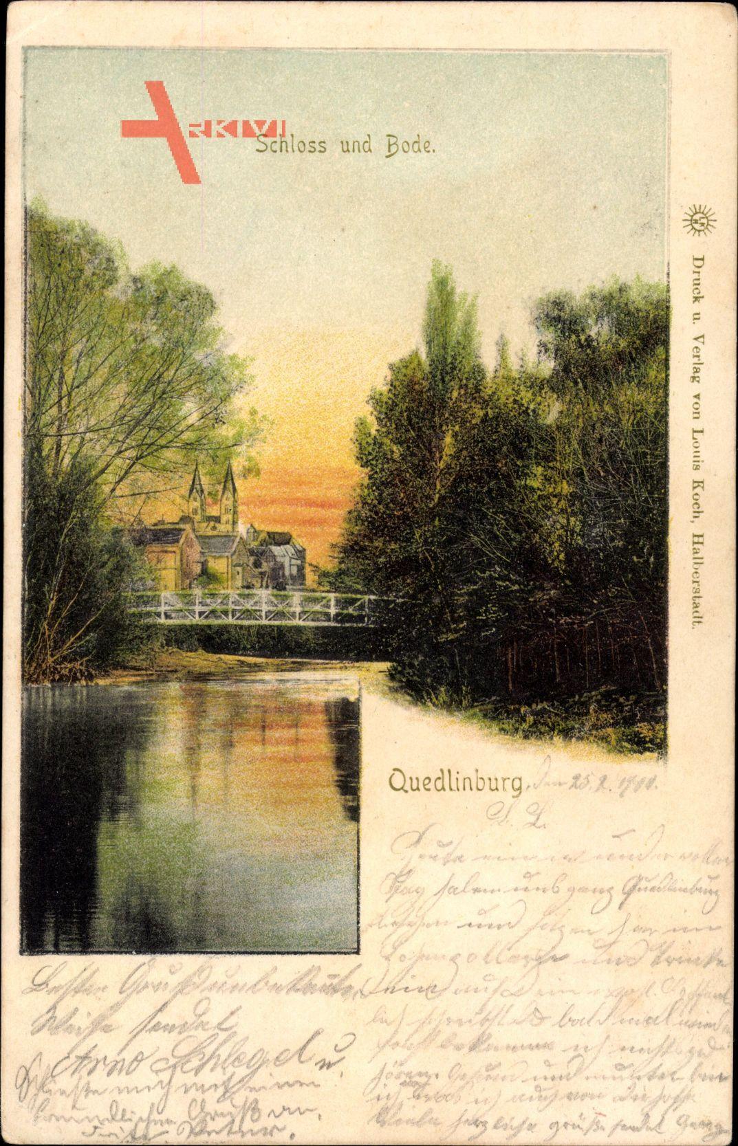 Quedlinburg im Harz, Blick auf das Schloss und die Bode, Brücke