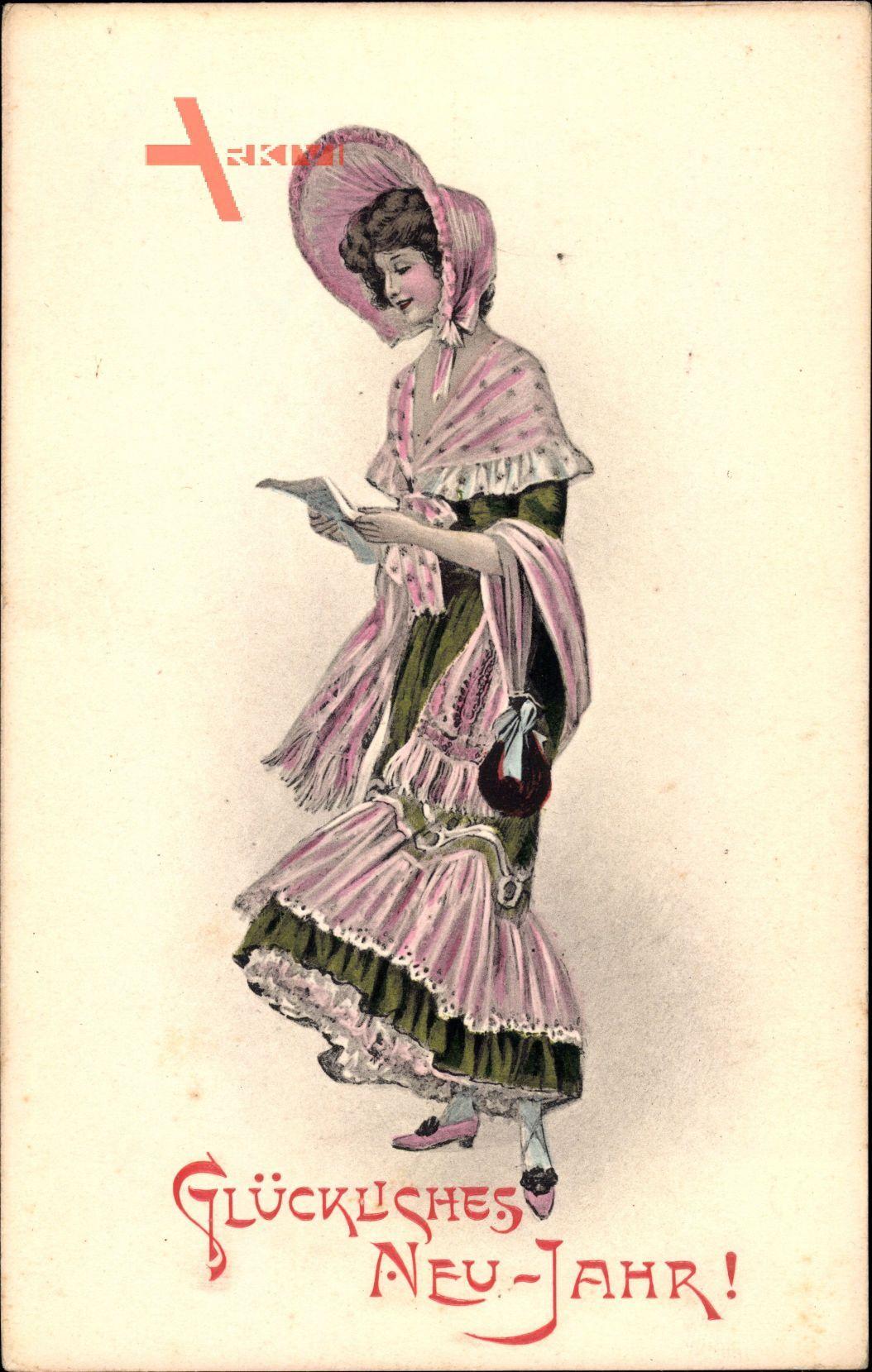 Glückwunsch Neujahr, Junge Frau liest einen Brief, Großer Hut