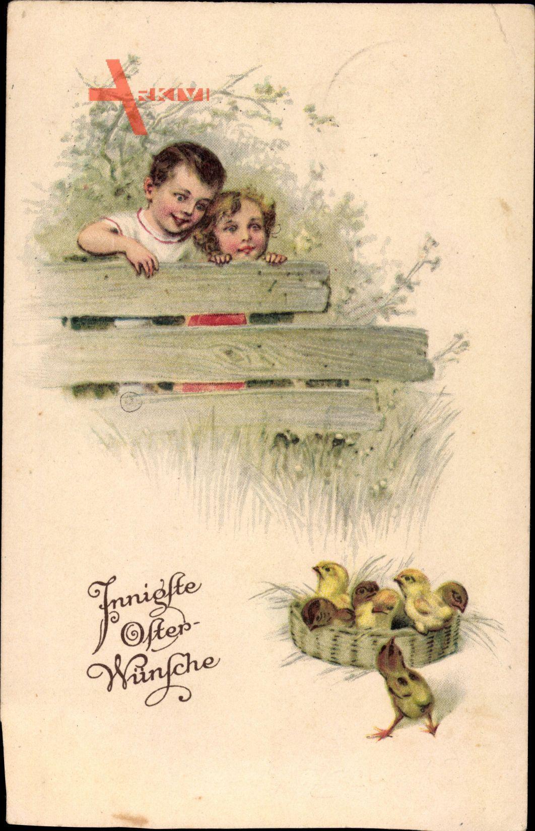 Glückwunsch Ostern, Küken in einem Strohkorb, Kinder am Zaun