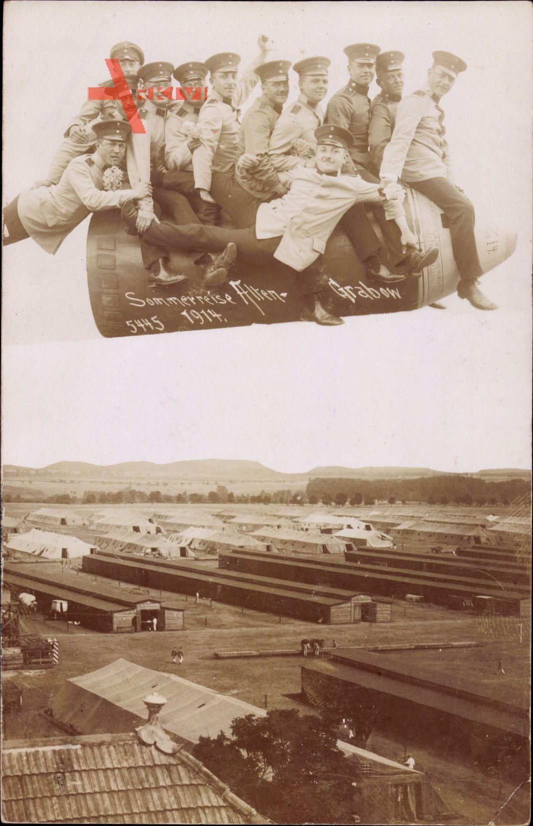 Altengrabow Möckern in Sachsen Anhalt, Soldaten auf Projektil, Fotomontage von 1914