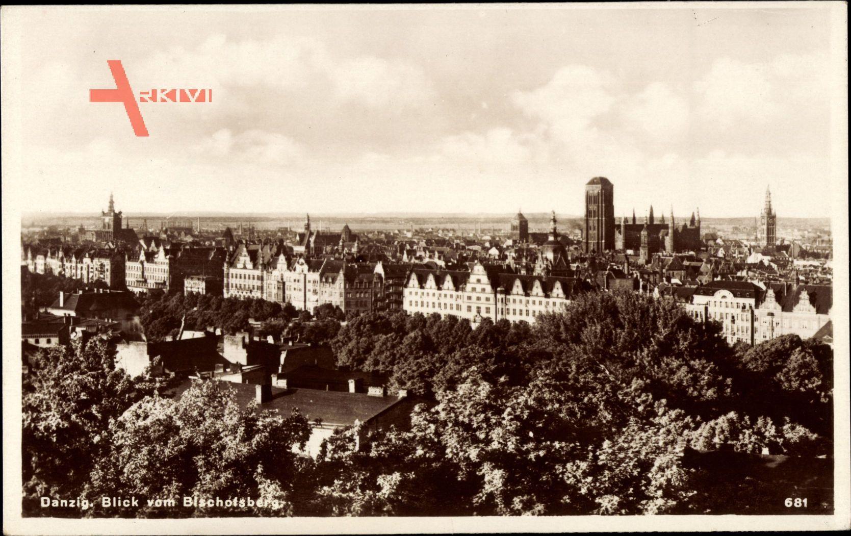 Gdańsk Danzig, Blick vom Bischofsberg auf den Ort, Kirche, Häuser