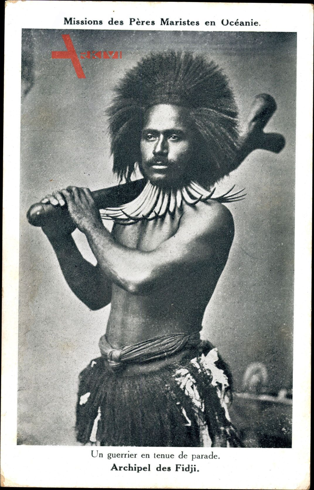 Un guerrier en tenue de parade, Archipel de Fidji, Missions Maristes