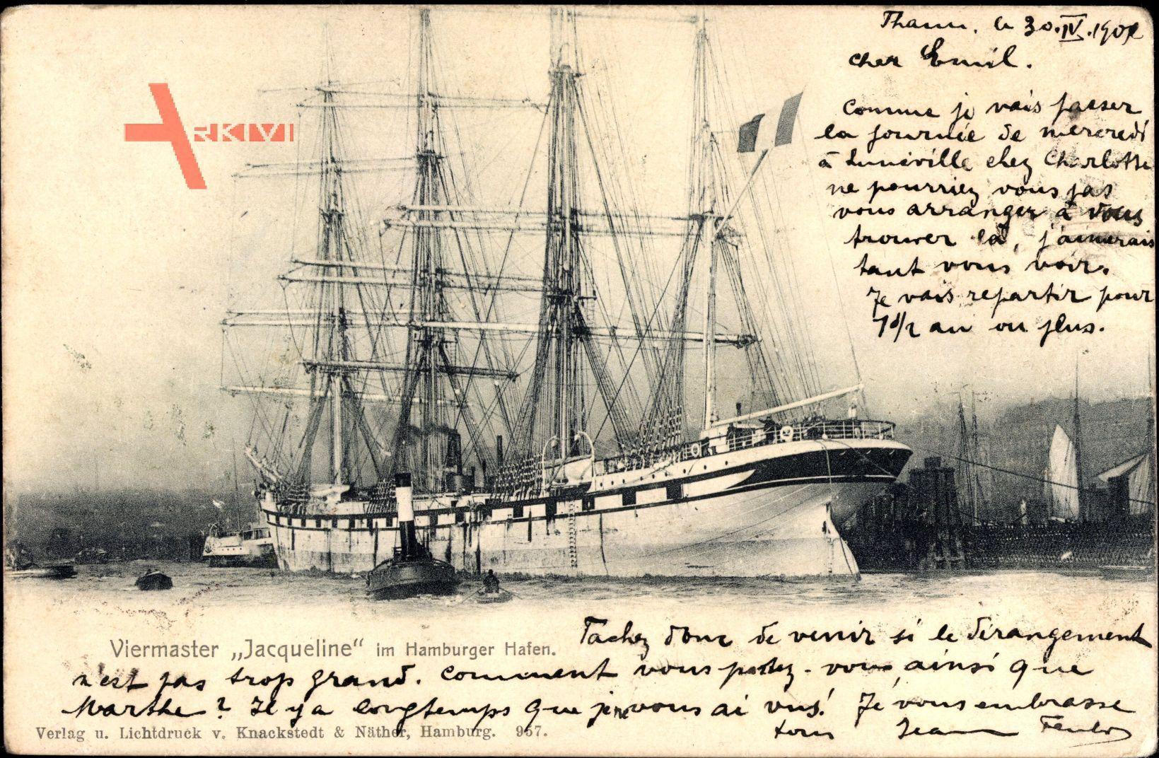 Viermaster Jacqueline im Hamburger Hafen, Viermastbark, Segelschiff