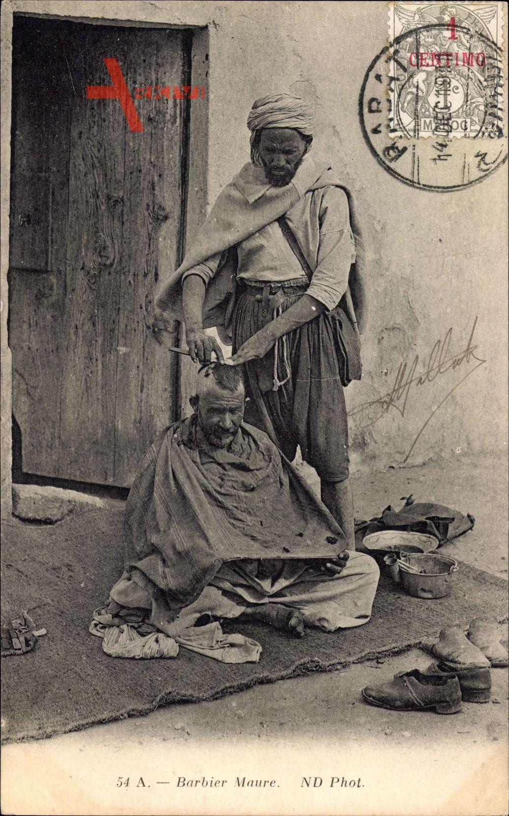 Barbier Maure, Arabischer Friseur bei der Arbeit