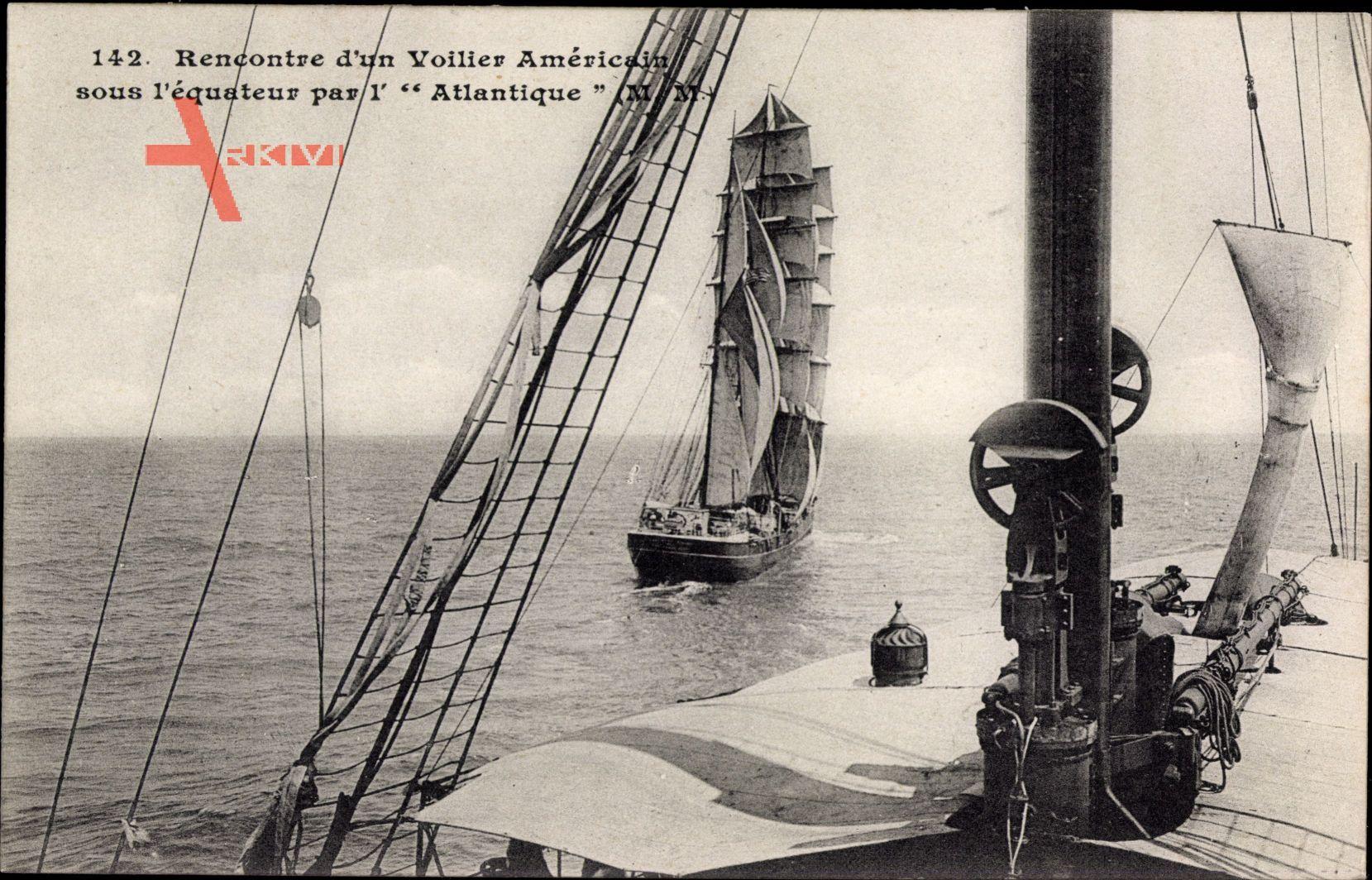 Rencontre dun Voilier Americain sous lequateur par lAtlantique,Segelschiff