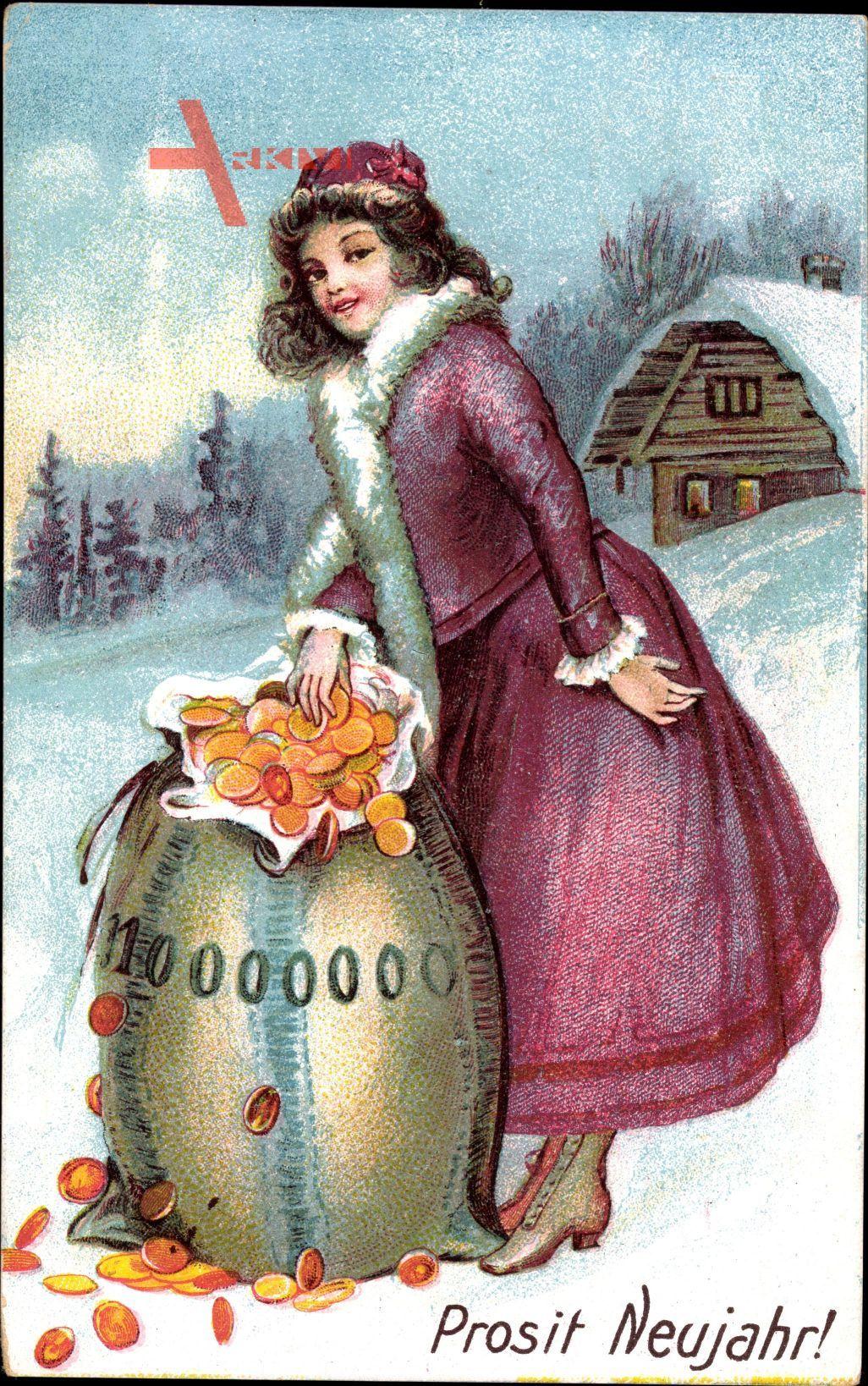 Glückwunsch Neujahr, Frau mit Geldsack, Münzen, 10000000 Goldmark