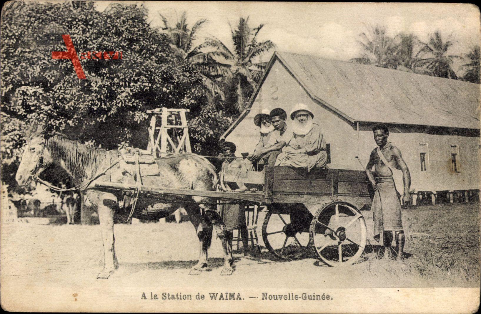 Waima Papua Neuguinea, A la station, Einheimische in einer Kutsche
