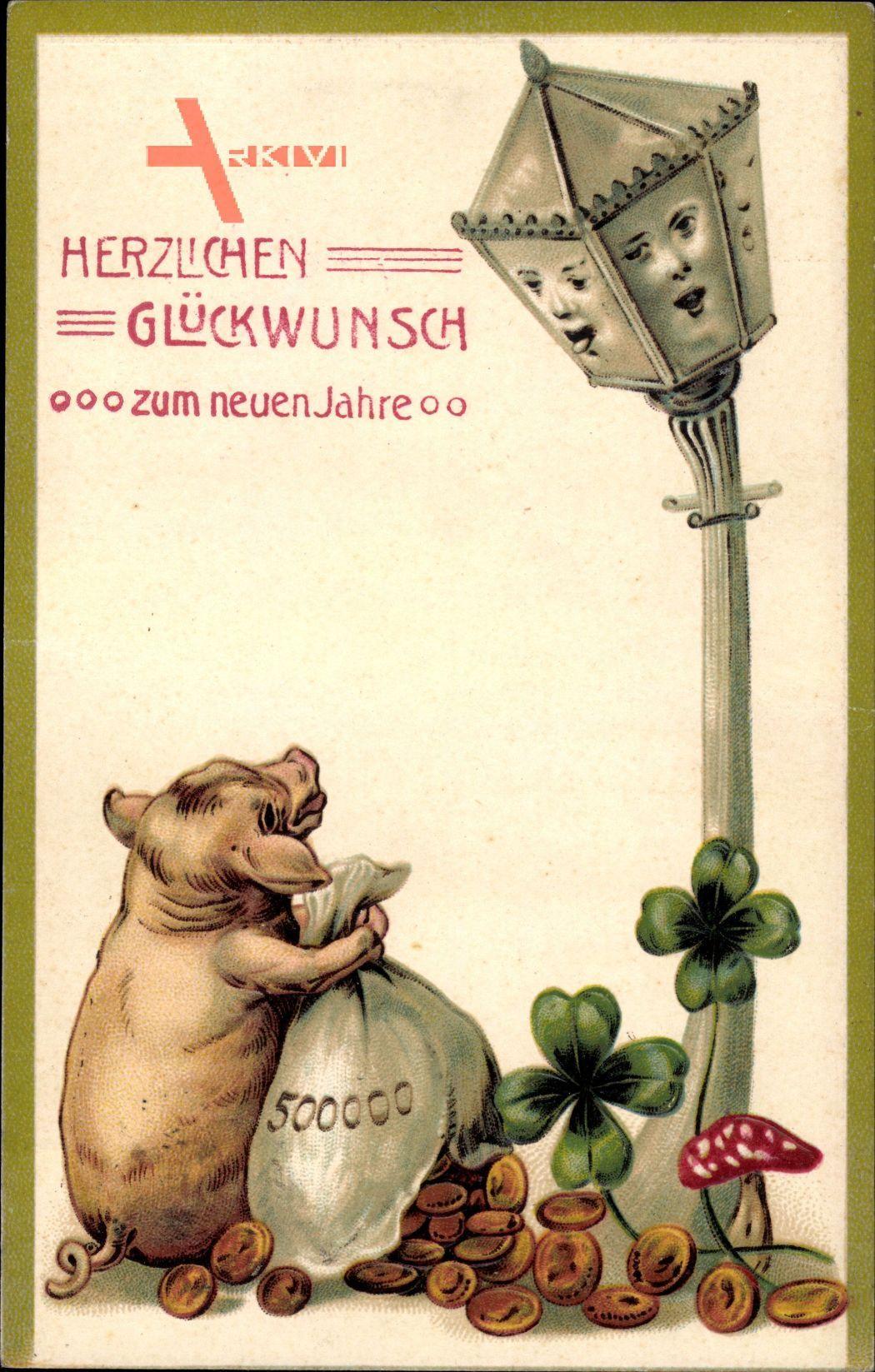 Glückwunsch Neujahr, Schwein, Geldsäche, Klee, Laterne, Pilz