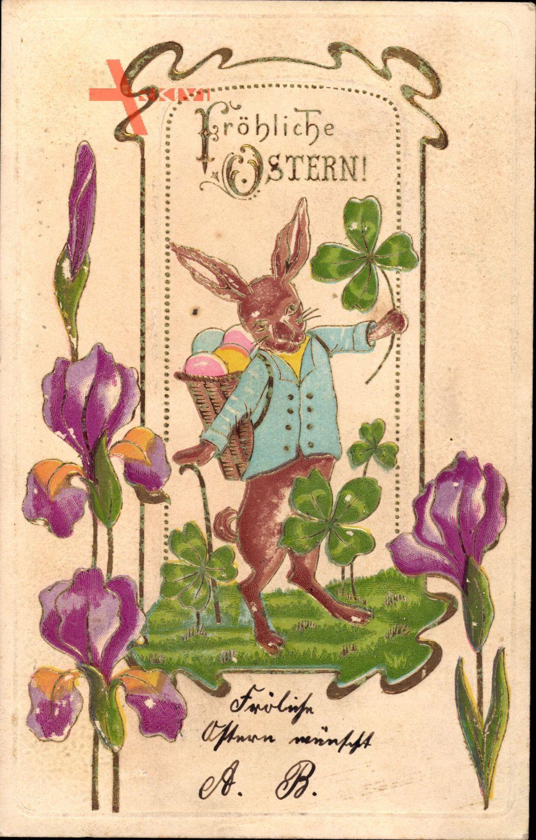 Glückwunsch Ostern, Osterhase, Kleeblätter