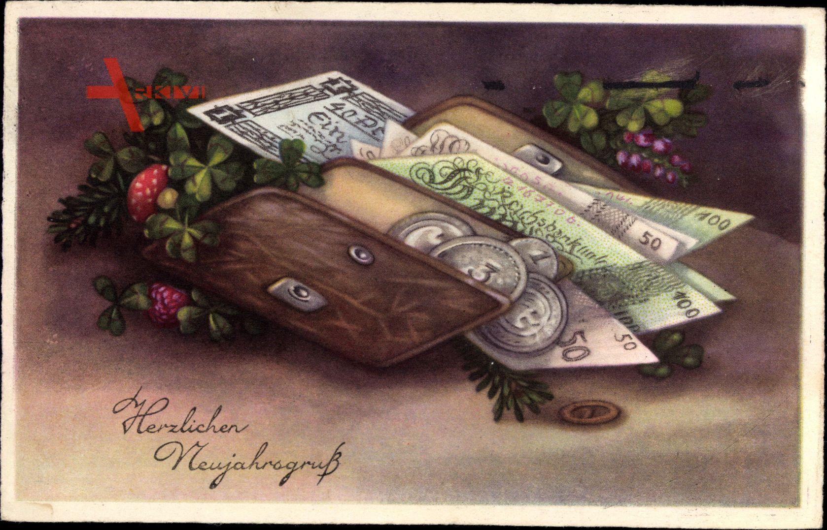 Glückwunsch Neujahr, Geldbörse, Geldscheine, EAS 1735