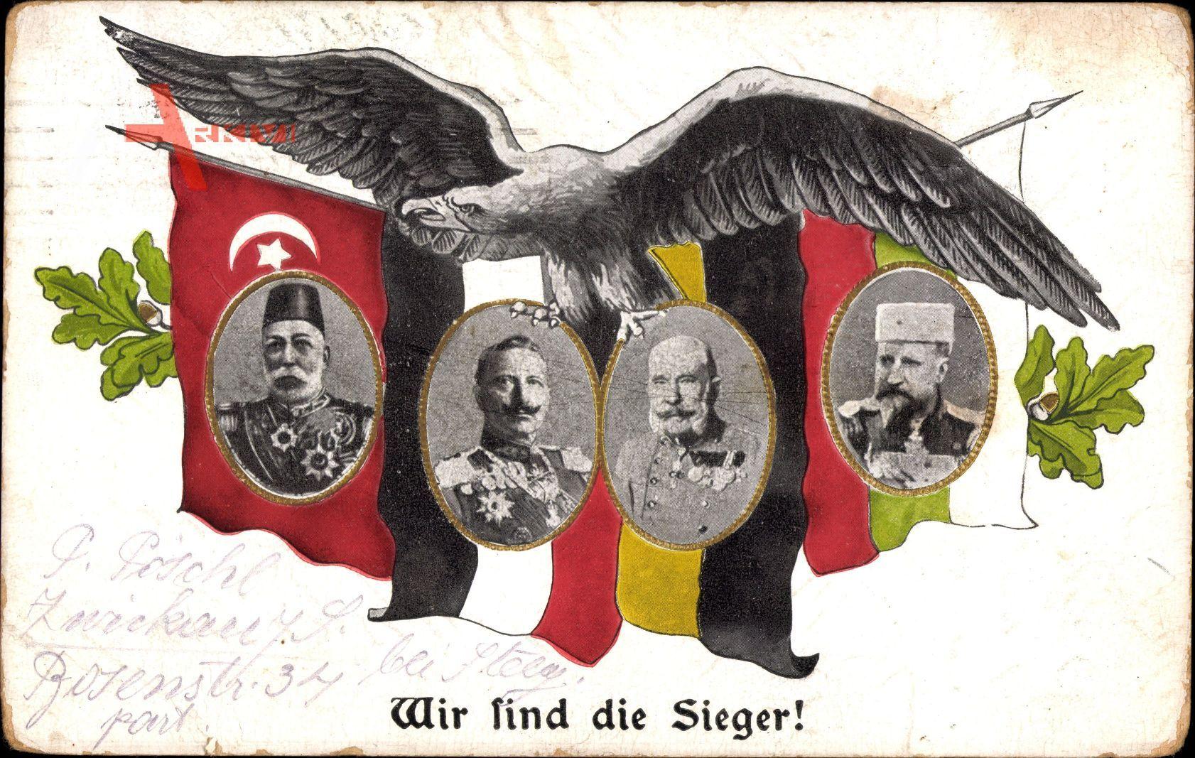 Kaiser Wilhelm II., Franz Josef I.,Mehmed V,Zar Ferdinand I,Türkei, Bulgarien