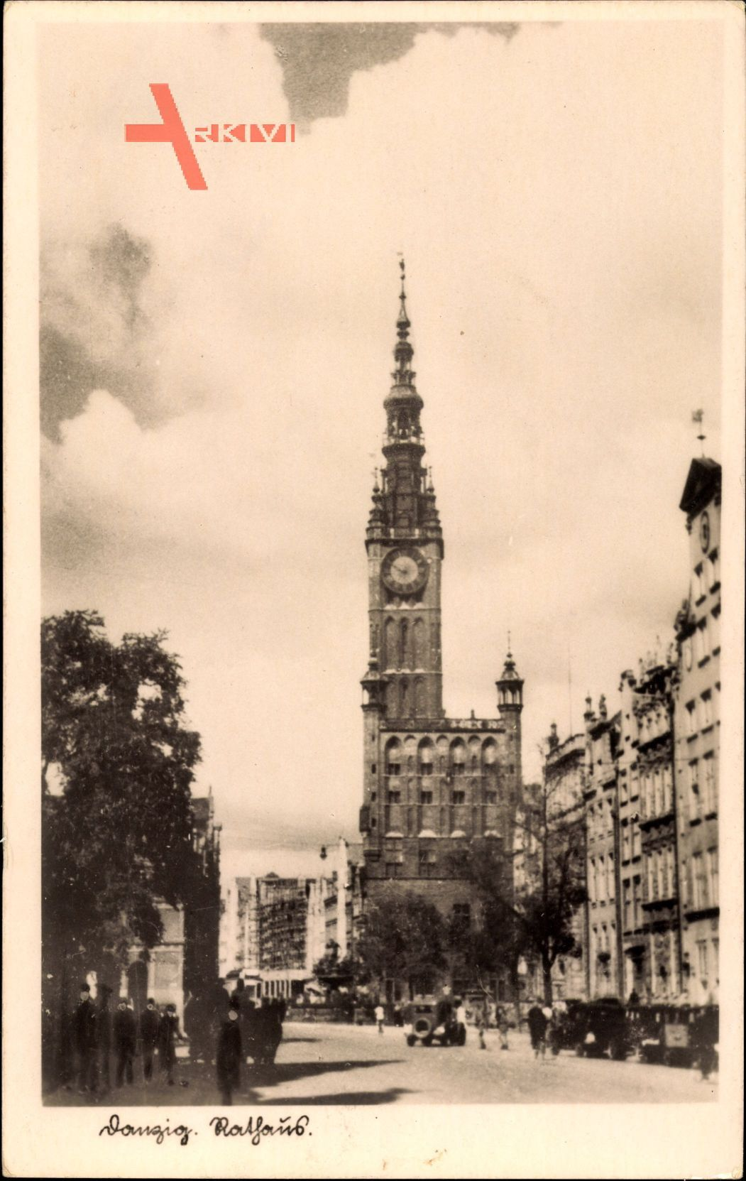 Gdańsk Danzig, Straßenblick zum Rathaus, Turmuhr