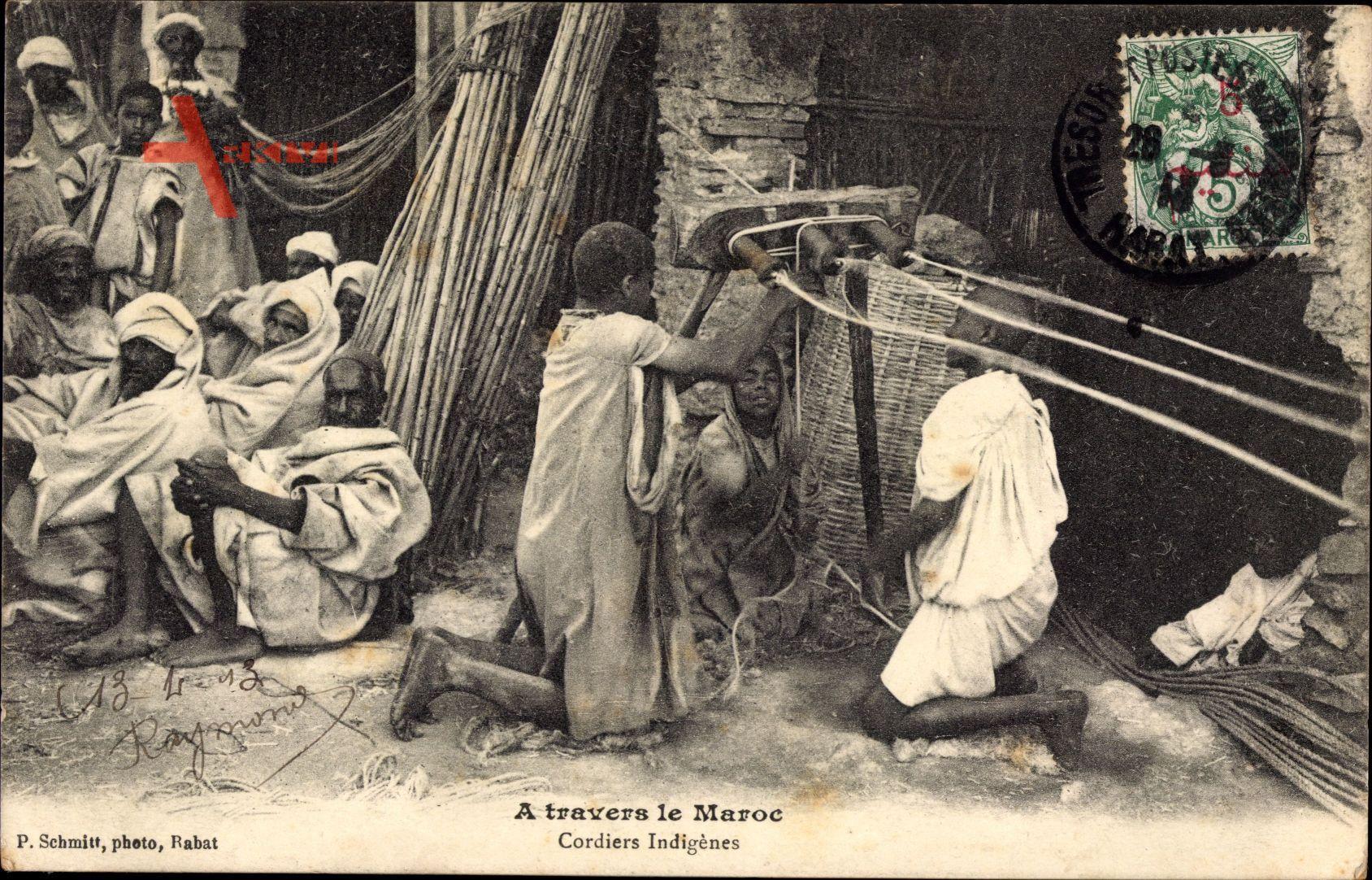 Marokko, A travers le Maroc, Cordiers indigènes, Seiler bei der Arbeit