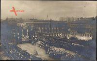 Berlin Mitte, Aufmarsch, Parade, Kaiserliche Truppen, Kutsche, Banner