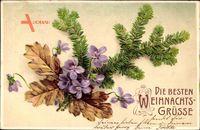 Frohe Weihnachten, Tannenzweig, Eichenlaub