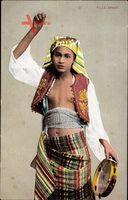 Ägypten, Fille Arabe, Junge Bauchtänzerin, Barbusig, Tamburin, Bauch