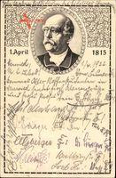 Passepartout Fürst Otto von Bismarck, 1 April 1815