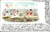 Frauenbad, Badekleidung, Wellengang, Baden im Meer