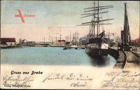 Brake an der Unterweser, Segelschiff im Hafen liegend