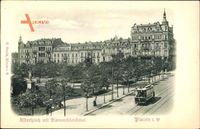 Relief Plauen im Vogtland, Albertplatz mit Bismarckdenkmal, Straßenbahn