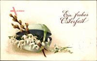 Glückwunsch Ostern, Osterei, Weidenkätzchen, Glockenblumen