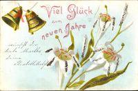 Glitzer Glückwunsch Neujahr, Glocken, Blumen, Weiße Blüten