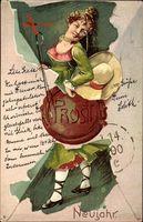 Glückwunsch Neujahr, Junge Frau, Monokel, Hut, Gehstock, Prosit