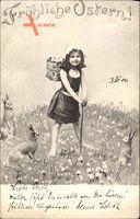 Glückwunsch Ostern, Mädchen mit Ostereierkorb, Osterhasen
