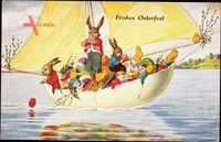 Glückwunsch Ostern, Osterei als Segelboot, Osterhasen