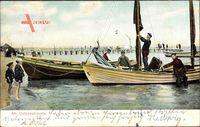 Lübeck in Holstein, Partie am Ostseestrande, Fischerboote