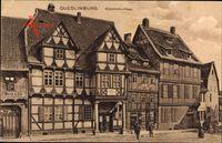 Quedlinburg am Harz, Partie am Klopstock Haus, Fachwerkhäuser