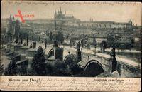 Praha Prag, Blick auf die Karlsbrücke mit der Kleinseite, Häuser