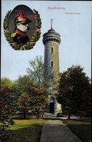 Quedlinburg im Harz, Der Bismarckturm mit Bismarck Portrait
