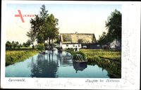 Lübben im Spreewald, Blick auf Kaupen, Talsandinsel, Spreewaldkahn