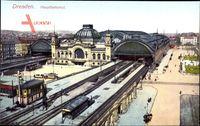 Dresden, Blick auf den Hauptbahnhof, Gleisseite, Straßenbahn, Schienen