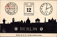 Scherenschnitt Berlin, 12.12.12 12 Uhr 12 Min. 12 Sek., Uhr, Panorama