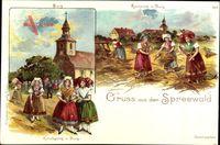 Burg im Spreewald, Kornernte, Kirchgang, Frauen in Tracht