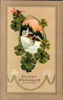 Glückwunsch Neujahr, Kleeblätter, Winteridyll