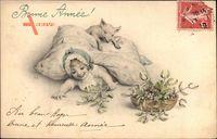 Glückwunsch Neujahr, Kleines Kind mit Mistelzweigen, Schwein, Kissen