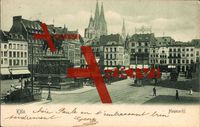 Köln am Rhein, Der Heumarkt, Denkmal, Straßenbahnen, Geschw. Neuss