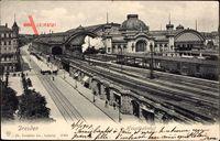 Dresden, Blick auf die Gleisseite des Hauptbahnhofes