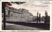 Bochum im Ruhrgebiet, Kaufmännische Schule und Bismarck Denkmal