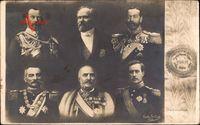 Poincaré, Zar Nikolaus II., Georg V., Peter I., Albert I., Nikolaus V.