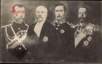 Poincaré, Nikolaus II., Georg V., Albert I. , Frères darmes et alliés de 191