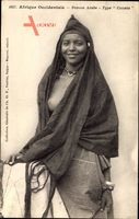 Afrique Occidentale, Femme Arabe, Type Counta, Barbusige Araberin