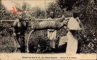 Afrika, Missions des PP du Saint Esprit,Retour de la Chasse, Erjagter Leopard