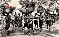 Afrique Occidentale Francaise, Scène de Vie Africaine, Dorf, Barbusige Frauen