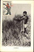 Afrika, Chasseur, einheimischer Jäger mit Pfeil und Bogen, Köcher